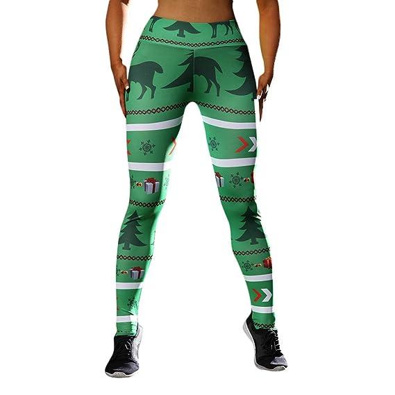 Navidad Mallas Deportivas Liso Mujer Leggins Pantalones De Correr Impresos  Gym Chandal Polainas Transpirables Leggings Deporte 3D para Running Fitness  Yoga ... 31b1f6999de7