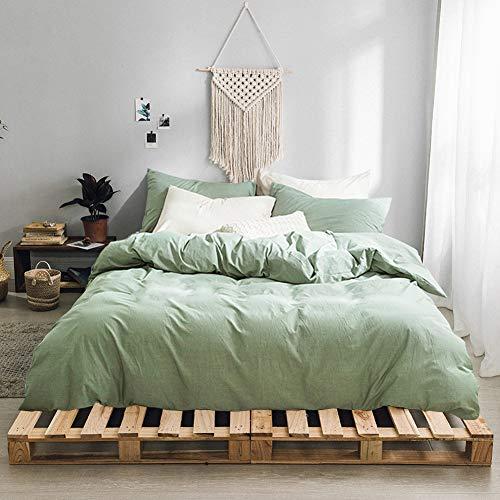 (Gravan 3-Piece Duvet Cover Set, 100% Washed Cotton Duvet Cover, Ultra Soft Solid Color Modern Style Bedding Set Natural Wrinkled Look (Green, Queen))