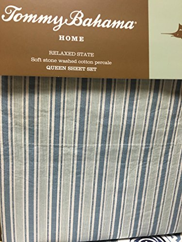Tommy Bahama Tropical Bahama Breeze Denim & Light Blue on White Stripe Relaxed State Sheet Set - (Tropical Breeze Stripe)