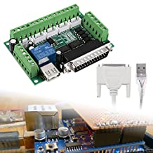 XCSOURCE 5 Axis CNC Interface Breakout Board Adapter for Stepper Motor Driver CNC Mill Mach3 + USB Cable TE421