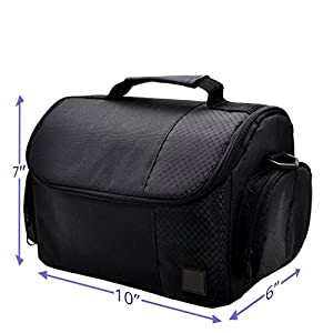 Large Digital Camera / Video Padded Carrying Bag / Case for Nikon, Sony, Pentax, Olympus Panasonic, Samsung, and Canon DSLR Cameras + eCostConnection Microfiber Cloth by eCostConnection
