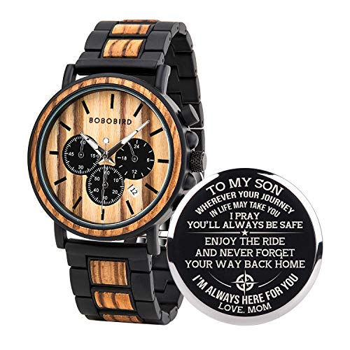BOBO BIRD Mens Personalized Engraved Wooden Watches, Stylish Wood & Stainless Steel Combined Quartz Casual Wristwatches…