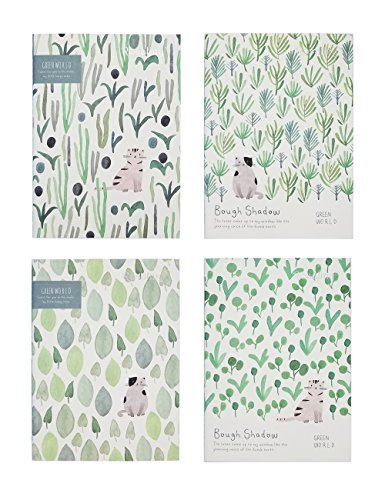 Rosaliny Green World 4 Assorted Softcover B5 Composition Notebook-College Ruled(Lined) by Rosaliny
