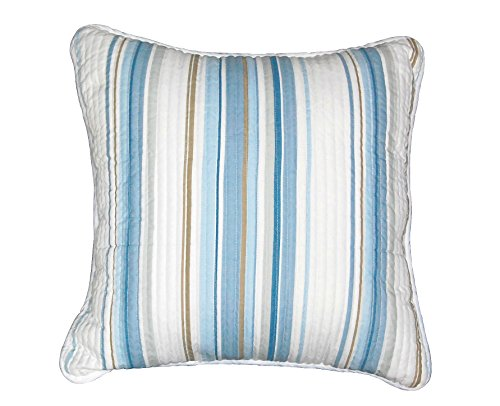 Cozy Line Home Fashions Verenda Blue White Brown Stripted Quilt Set Cotton Decorative Throw Pillow for Men Women(Blue Stripe, Decor Pillow -1 Piece) (Brown Sugar Quilt Set)