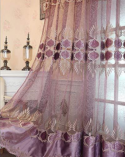 AiFish 1 pc Purple Lace Sheer Curtains Panels Applique Embroidered Floral Light Flow Luxury European Jacquard Voile Rod Pocket Top Window Treatment Drape Living Room Balcony Patio Sliding Glass Door