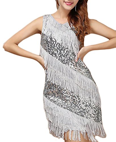 Jaycargogo Sexy Women Dresses Splicing Sleeveless Tassel Silver Sequins aaFnWr