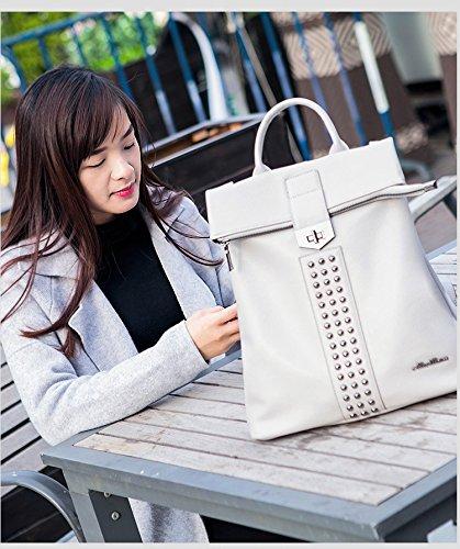 Sac main dos sac à Gray usage capacité sac à Femmes FZHLY bandoulière à sac à dos double Sac PU grande à bandoulière cuir Rivet Épaule souple en AWBqt