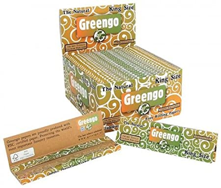 Greengo Rolling Papers King Size [110mm x 53mm], Genuine Unbleached