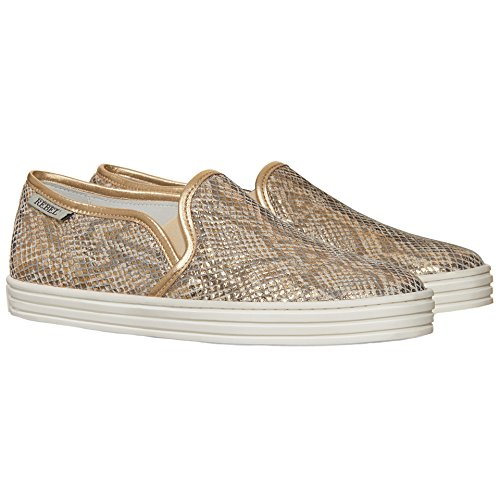 Hogan Slip On Sneakers Donna HXW1410Q560BXU0ATH Pelle Oro