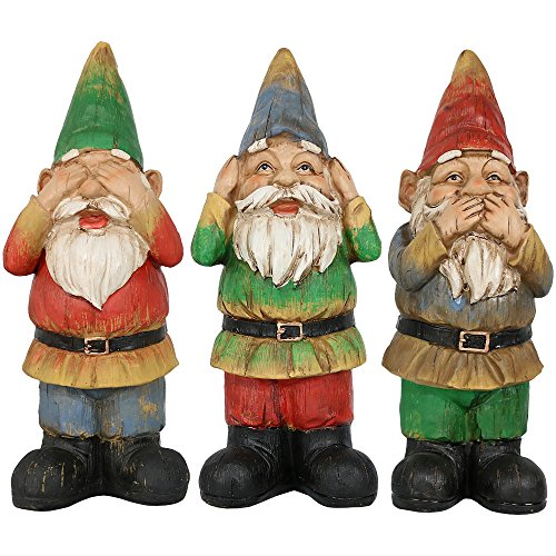 Sunnydaze Three Wise Garden Gnomes - Hear, Speak, See No Evil Set - Outdoor Lawn Statues, 12 Inch Tall Each -
