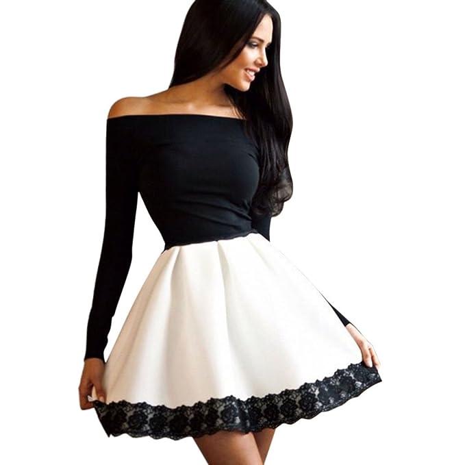 BOBORA Donna di manica lunga aderente abito floreale Off spalla Mini abito  corto  Amazon.it  Abbigliamento 0d5c5c63ab2