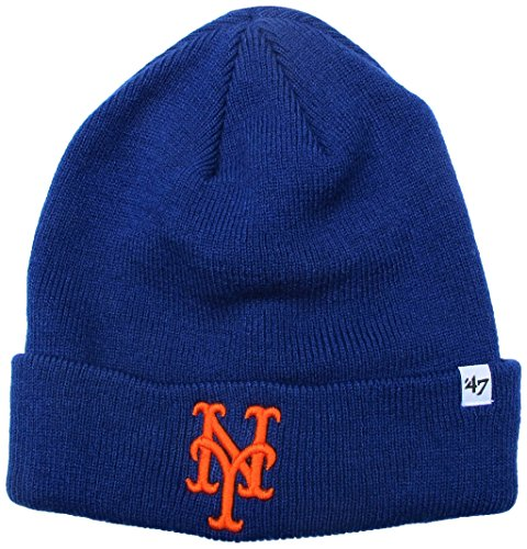 '47 MLB New York Mets Raised Cuff Knit Beanie, One Size, Royal -