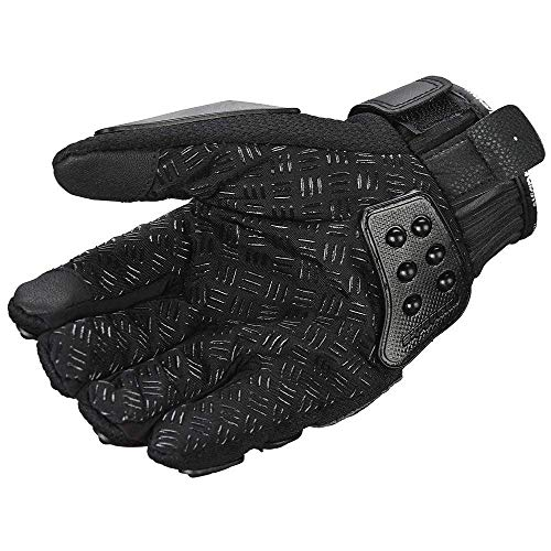 oubaiya Steel Outdoor Reinforced Brass Knuckle Motorcycle Motorbike Powersports Racing Textile Safety Gloves (Black, X-Large) by oubaiya (Image #6)