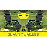 2 x Heavy Duty Textoline Zero Gravity Reclining Garden Sun Lounger Chairs