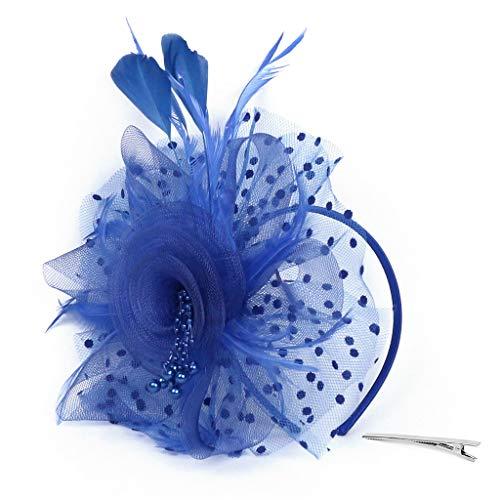 (Sunshinehomely Women Hairband, Women Penny Mesh Hat Ribbons Feathers Fascinator Hat Headband Cocktail Tea Party Hat Headwear (Blue))