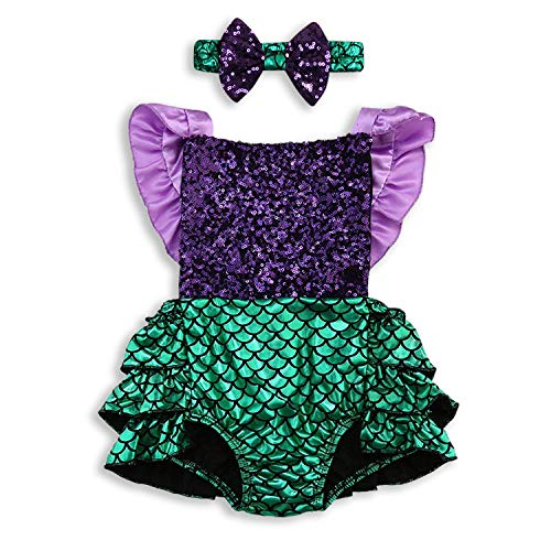 Mermaid Halloween Costume Baby (Baby Halloween Costume Baby Girl Mermaid Romper Sequins Backless Sunsuit with Headband 2Pcs Costume Clothes (Multicolored, 18-24)