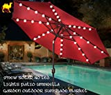 STRONG CAMEL 9'NEW SOLAR 40 LED LIGHTS PATIO UMBRELLA WITH CRANK TILT GARDEN OUTDOOR -BURGUNDY