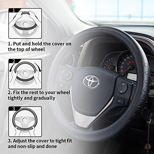 [해외]FMS 정품 가죽 자동차 핸들 커버 범용 15 인치 자동차 내장 부품 - 검정, 내구성, 통기성, 안티 슬립, 무취/FMS Genuine Leather Car Steering Wheel Cover Universal 1