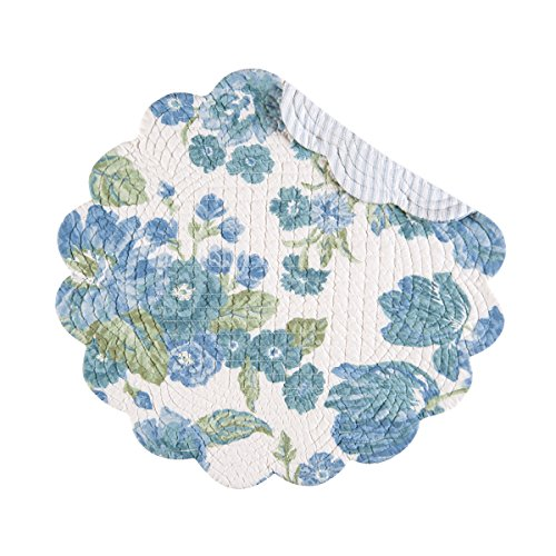 Set of 4 Laurel Quilted Reversible Round Placemat by C&F - Ivory, Blue, Green