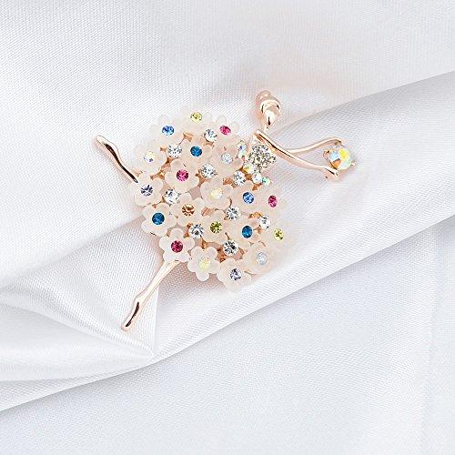 Wonvin Mujer Broche de Circonia 18K Oro Chapado Chica de Ballet Niña de Cristal Colorido