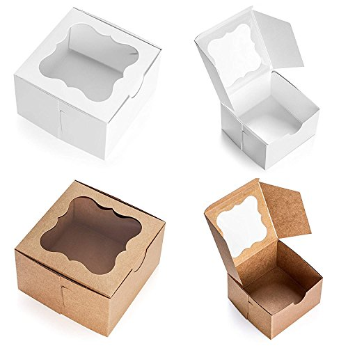(25 Pack Brown Bakery Box with Window 4x4x2.5 inch - Eco-Friendly Paper Board Cardboard Gift Packaging Boxes for Pastries, Cookies, Small Cakes, Pie, Cupcakes, and More - by California)