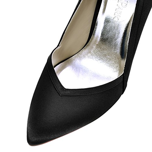 ElegantPark HC1603 Women's Pointed Toe High Heel V Cut Slip on Satin Dress Pumps Black US 7 by ElegantPark (Image #4)