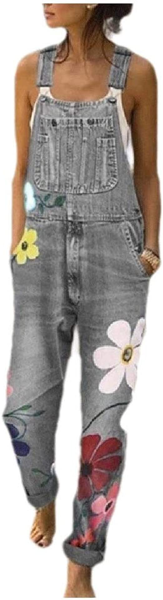 Nicellyer Women Washed Flower Mid Rise Skinny Overalls Pant Jeans Jumpsuits