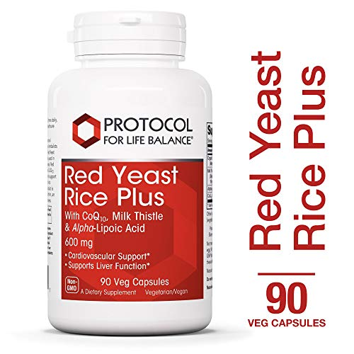 Protocol For Life Balance – Red Yeast Rice Plus 600 mg – with CoQ10, Milk Thistle Alpha-Lipoic Acid to support Cardiovascular and Liver Function – 90 Veg Capsules