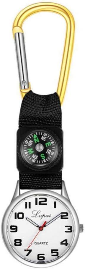 Dilwe Sportuhr L/ässige Multifunktions Kompassuhr mit Einem Karabinerhaken an der Taschenlaufuhr f/ür Camping
