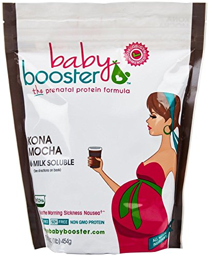 Baby Booster - Prenatal Vitamin Supplement Shake - Baby Booster Kona Mocha - 1lb bag - OBGYN Approved - All Natural - Tastes Great - Vegetarian DHA - High Protein - Folic Acid - B6 - Great for Morning Sickness