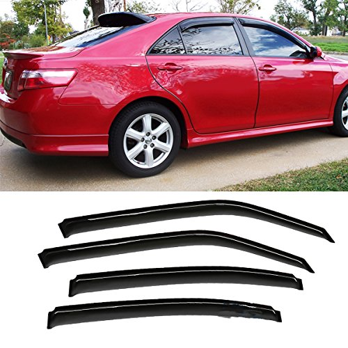 VioGi 4pcs Smoke Tint Reinforced Acrylic Sun Rain Guard Vent Shade Window Visors For 06-10 Dodge Charger