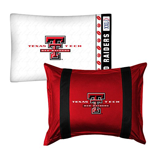 2pc NCAA Texas Tech Red Raiders Pillowcase and Pillow Sham Set College Team Logo Bedding Accessories Texas Tech Sham