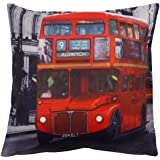 Decorative Scatter Cushion Covers Vintage Retro Style 17 x 17 Photo Printed Cover (London Bus) by Generic