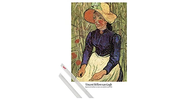 1art1® Póster + Soporte  Vincent Van Gogh Póster (91x61 cm) Campesina con  Sombrero De Paja Sentada En El Trigo 4f2a47528df