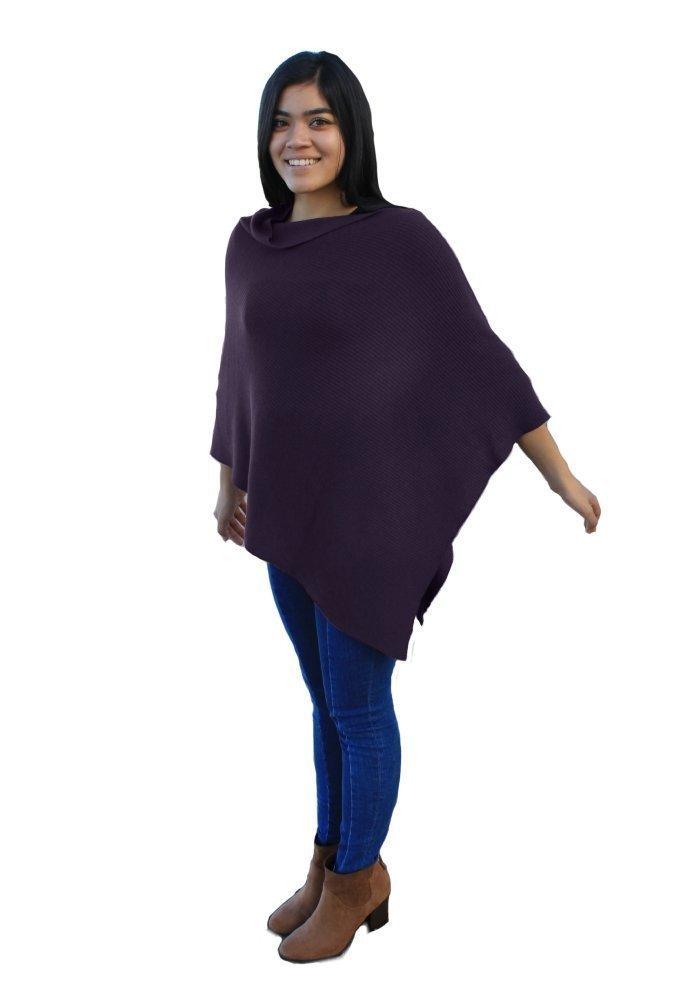 Emji 100% Cashwool® Merino Wool Ribbed-Knit Poncho, Luxury Pullover Poncho with 2x1 Rib Knit Pattern, Purple
