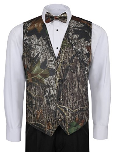 Mossy Oak Camouflage Vest For Men w/ Long Tie & Bow Tie - Large