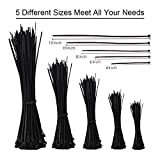 Zip Ties, 500 Pcs Adjustable Durable Self locking Black Nylon Zip Cable Ties for Home Office Garage Workshop Heavy Duty