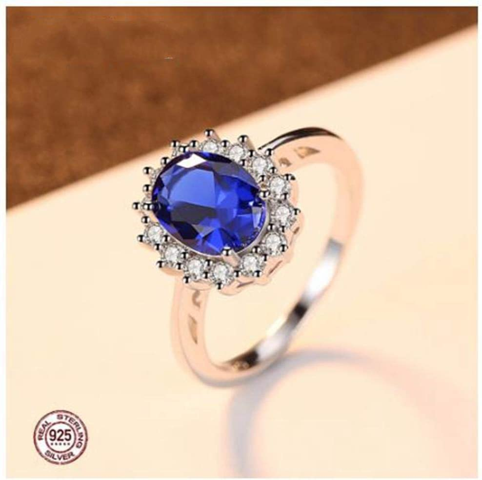 XCWXM Anillos Anillos De Piedras Preciosas Sapphire Blue Wedding Engagement 925 Anillo De Dedo De Plata Esterlina para Mujer