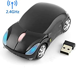 Wireless Car Mouse, 2.4G Wireless Race Car Shaped Mouse Cool Optical Mouse Novelty Cordless Mice, 1600 DPI for PC Desktop Mac Laptop (Black)