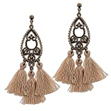 Katie's Style Antiqued Vintage Crystal Fringe Drop Tassel Dangle Statement Earrings - Tan