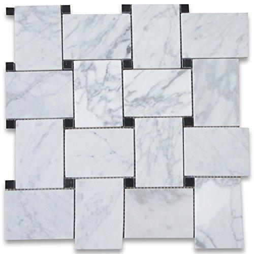 Carrara White Italian Carrera Marble Large Basketweave Mosaic Tile w/ Black Dots Polished