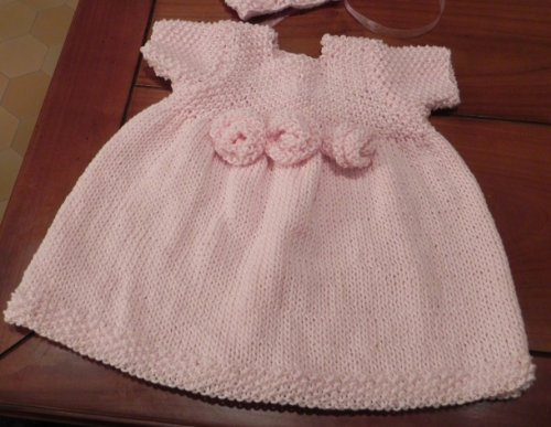 French Rosette Baby Dress Knitting Pattern