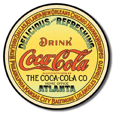 The Finest Website Inc. Coke Coca Cola Atlanta Round Sign 11.75 inches in Diameter (D1070) Nostalgic Advertising Tin Sign (Antique Advertising Tin)
