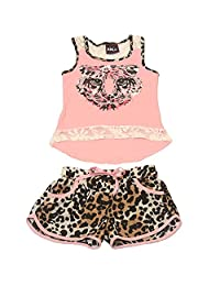 Big Girls Coral Leopard Print Lace Inset Tank Top Shorts 2 Pc Outfit 7-14