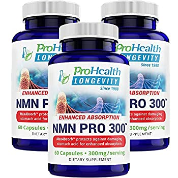 Image of ProHealth NMN Pro 300 Enhanced Absorption 3-Pack (60 Capsules, 300mg per 2 Capsule Serving) Nicotinamide Mononucleotide | NAD+ Precursor | Supports Anti-Aging, Longevity and Energy | Non-GMO Health and Household