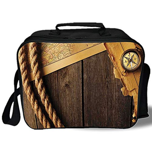 Insulated Lunch Bag,Compass Decor,Antique Brass Compass and Rope Over Old Map on Wooden Timber Table Illustration,Brown Gold,for Work/School/Picnic, (Flamingo Antique Brass)