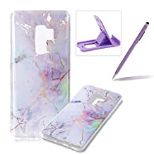 Rubber Case for Samsung Galaxy S9 Plus,Soft TPU Cover for Samsung Galaxy S9 Plus,Herzzer Premium Stylish Marble Pattern Scratch Resistant Slim Fit Silicone Back Cover