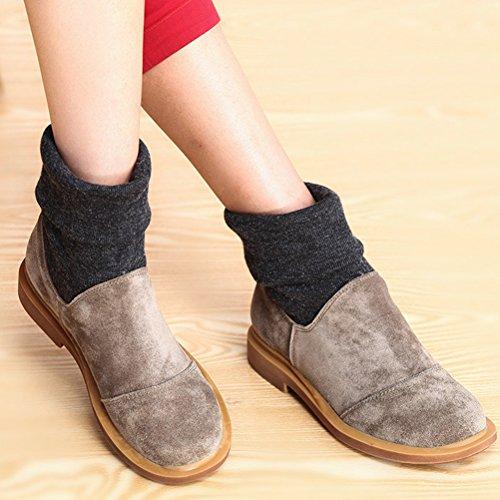 Mordenmiss Womens Retro Fall Winter Boots Style 1 Lichtgrijze Fleece