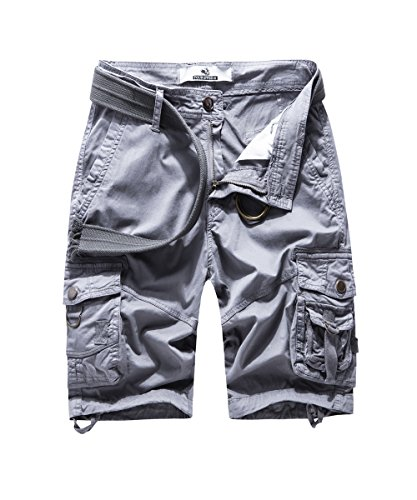 FOURSTEEDS Women's Multi-Pocket Cargo Shorts Twill Cotton Relaxed Fit Half Pants Grey US 16 ()