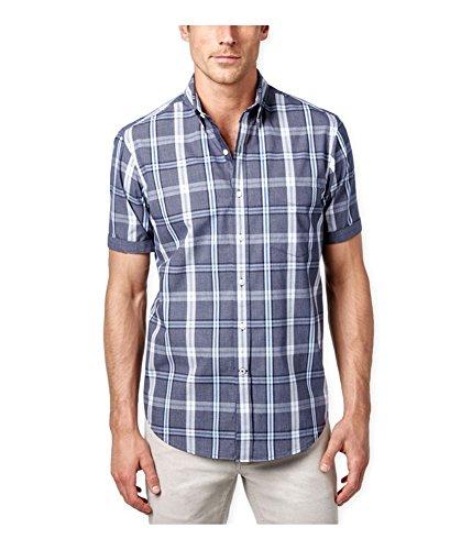 Club Room Men's Wentworth Plaid Short-Sleeve Shirt (Medium, Navy ()